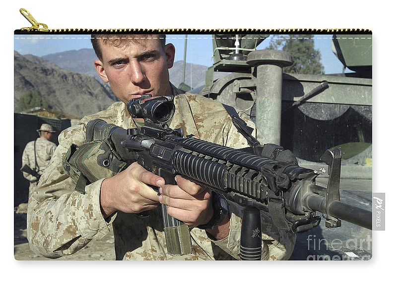 A Soldier Displays His M16 A4 Rifle Carry All Pouch For Sale By