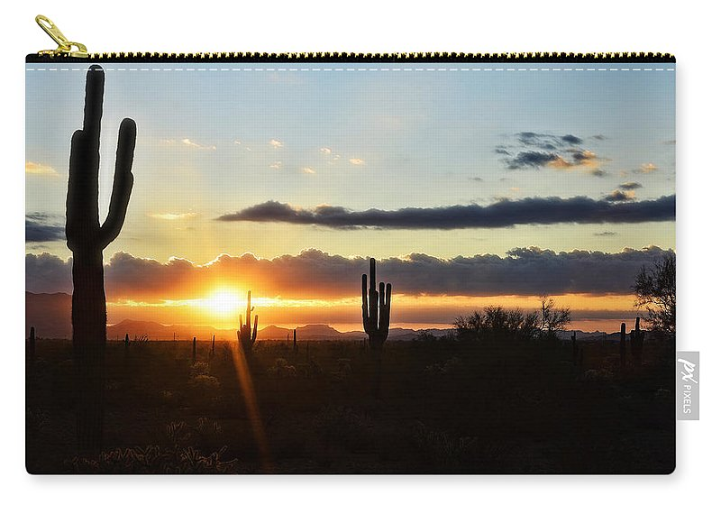 Sunrise Carry-all Pouch featuring the photograph A Southwest Morning by Saija Lehtonen