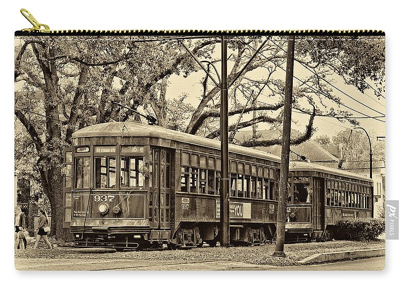 New Orleans Carry-all Pouch featuring the photograph A Streetcar Named St. Charles Sepia by Steve Harrington