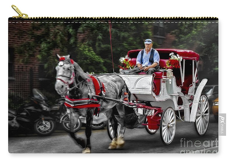 Horse And Carriage Carry-all Pouch featuring the photograph A Stroll Thru The City by Susan Candelario