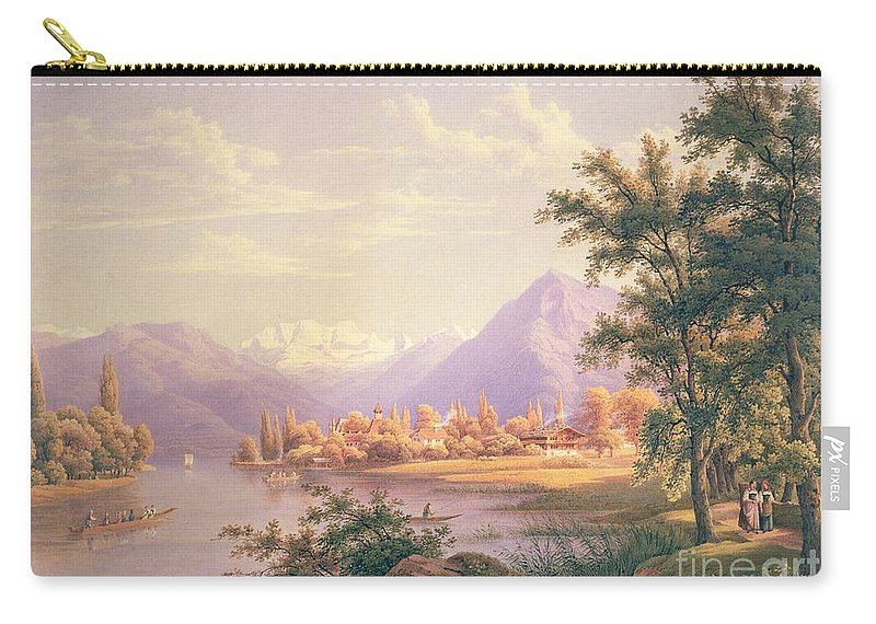 Swiss Landscape; Thunersee; Alps; Mountains; Alpine Carry-all Pouch featuring the painting A View Of Scherzingen On The Lake Of Thun by Jakob Suter