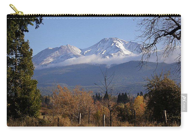 Road Carry-all Pouch featuring the photograph A View Toward Mt Shasta In Autumn by Mick Anderson