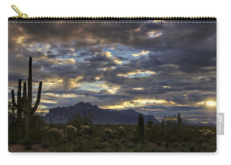 Sunrise Carry-all Pouch featuring the photograph A Winter Sunrise In The Desert by Saija Lehtonen