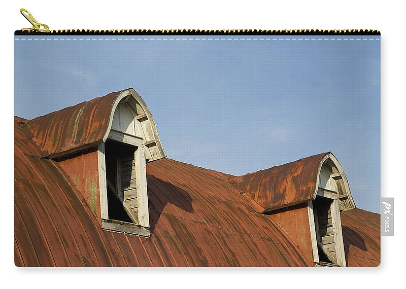 Building Carry-all Pouch featuring the photograph Abandoned Building Roof 1 A by John Brueske