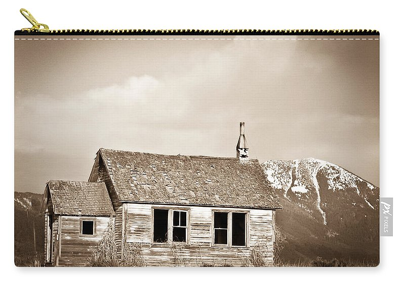 Abandoned Carry-all Pouch featuring the photograph Abandoned Montana Shcoolhouse by Douglas Barnett