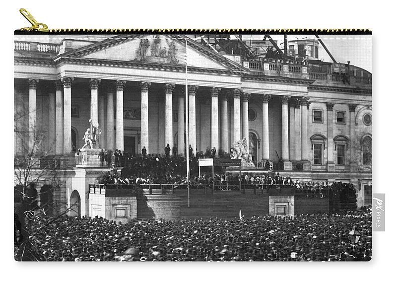 abraham Lincoln Carry-all Pouch featuring the photograph Abraham Lincolns First Inauguration - March 4 1861 by International Images