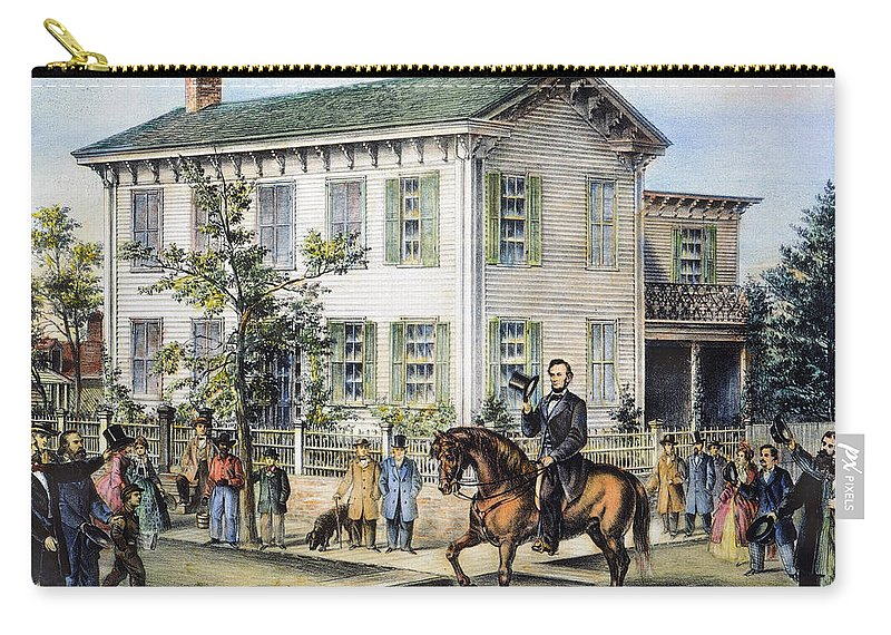 1865 Carry-all Pouch featuring the photograph Abraham Lincolns Home by Granger
