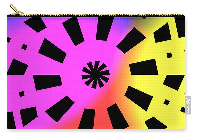 Form Forms Black White Triangle Geometric Abstract Art Minimalism Spiral Digital Painting Carry-all Pouch featuring the digital art Abstract Color Forms by Steve K