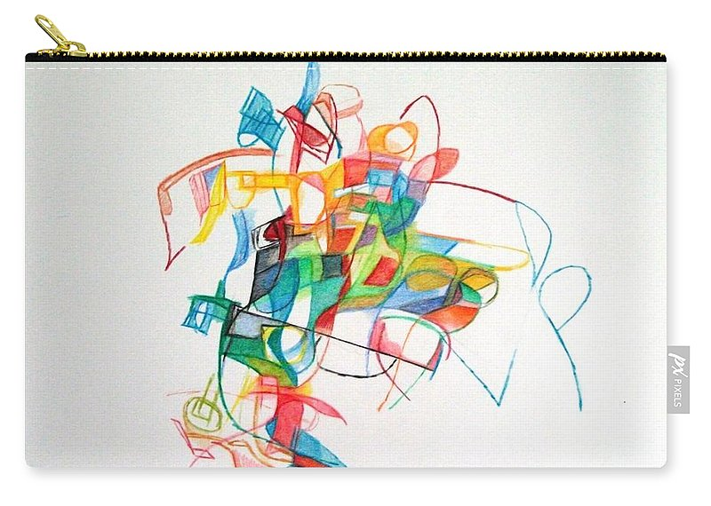 Abstrast Art Carry-all Pouch featuring the drawing Elul 5 by David Baruch Wolk