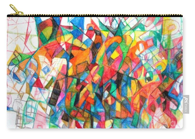 Abstract Art Carry-all Pouch featuring the drawing Simchas Torah 6 by David Baruch Wolk