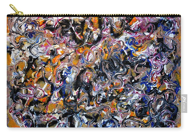 Acrylic Carry-all Pouch featuring the painting Abstract Interconnection by Nancy Mueller