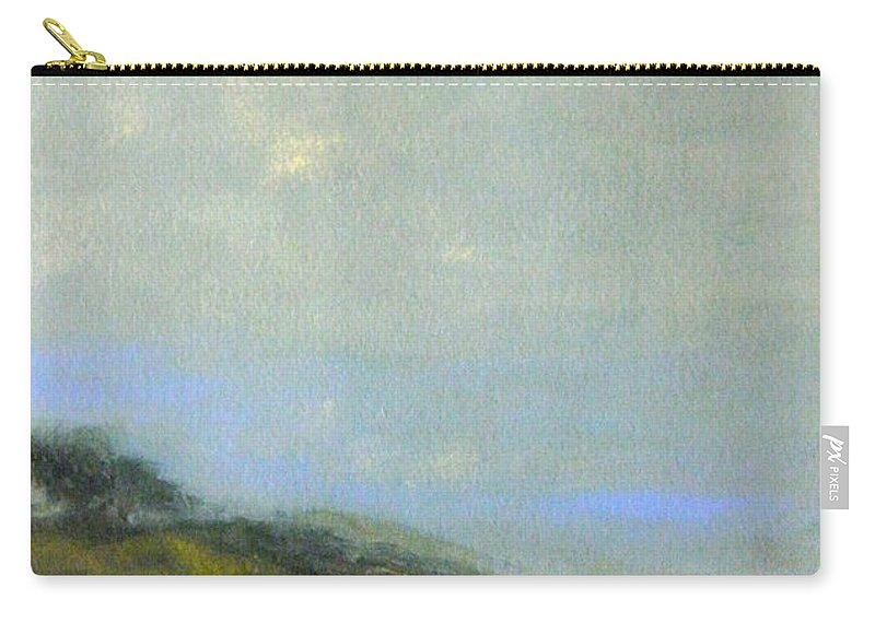 Landscape Carry-all Pouch featuring the painting Abstract Landscape - Green Hillside by Kathleen Grace