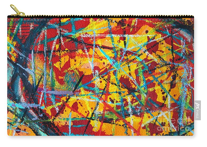 Abstract Carry-all Pouch featuring the painting Abstract Pizza 1 by Ana Maria Edulescu
