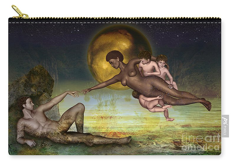 Creation Carry-all Pouch featuring the digital art Adam Creation Revisited She Is Black by Rosa Cobos