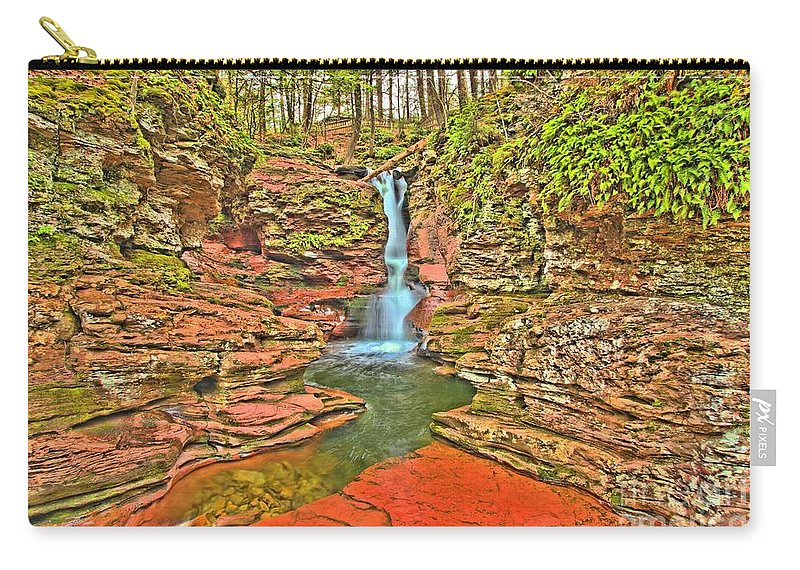 Ricketts Glen Carry-all Pouch featuring the photograph Adams Falls by Adam Jewell