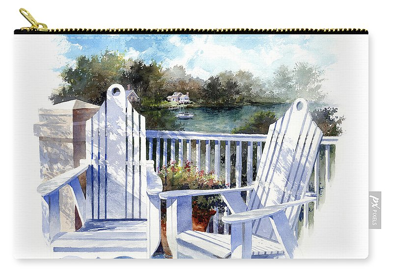 Chair Carry-all Pouch featuring the painting Adirondack Chairs Too by Andrew King