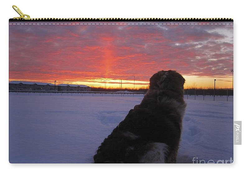 Winter Carry-all Pouch featuring the photograph Admiring The Sunset by Alanna DPhoto