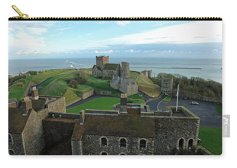 English Channel Carry-all Pouch featuring the photograph Aerial View Of Dover Castle by Ashish Agarwal