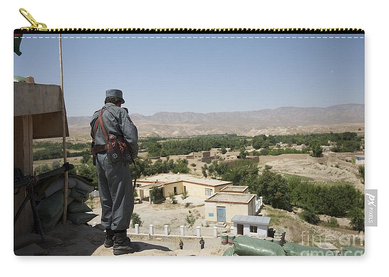Afghanistan Carry-all Pouch featuring the photograph Afghan Policeman Standing by Terry Moore