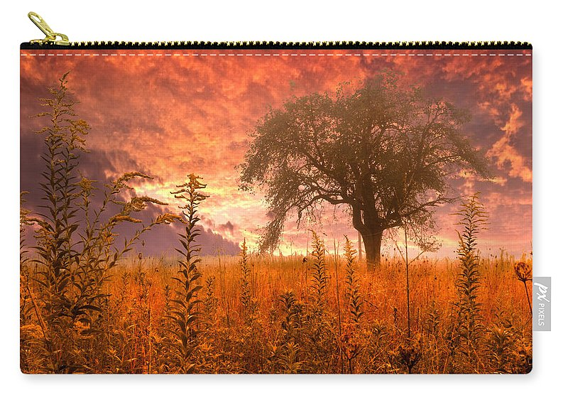 Andrews Carry-all Pouch featuring the photograph Aflame by Debra and Dave Vanderlaan