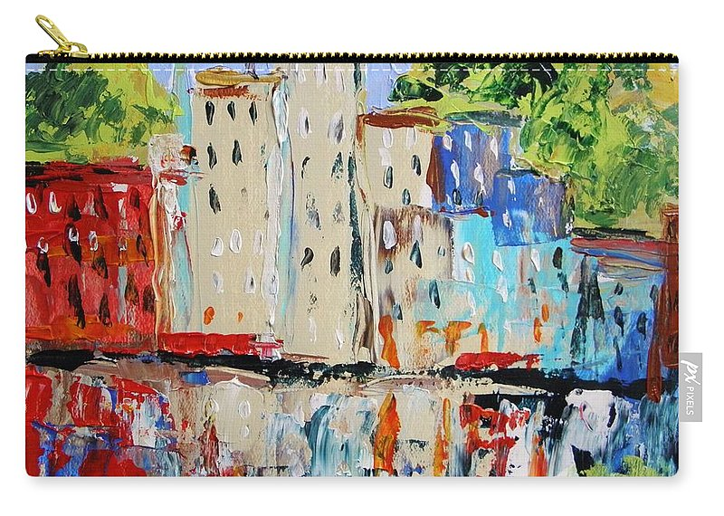 Acrylic Carry-all Pouch featuring the painting After Hours-reflection by John Williams