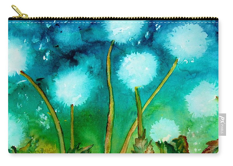 Dandelions Carry-all Pouch featuring the painting Against The Wind by Lil Taylor