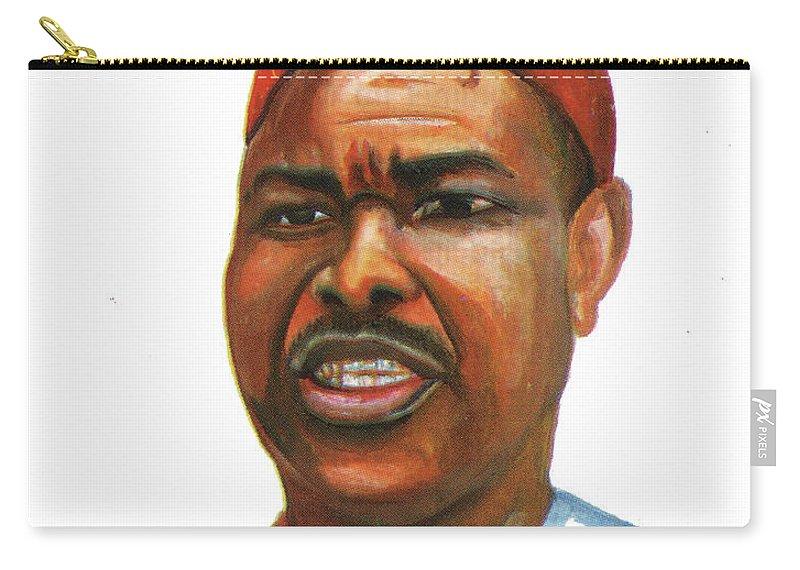 Ahmadou Ahidjo Carry-all Pouch featuring the painting Ahmadou Ahidjo by Emmanuel Baliyanga