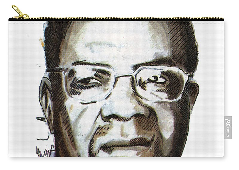 Portraits Carry-all Pouch featuring the painting Aime Cesaire by Emmanuel Baliyanga