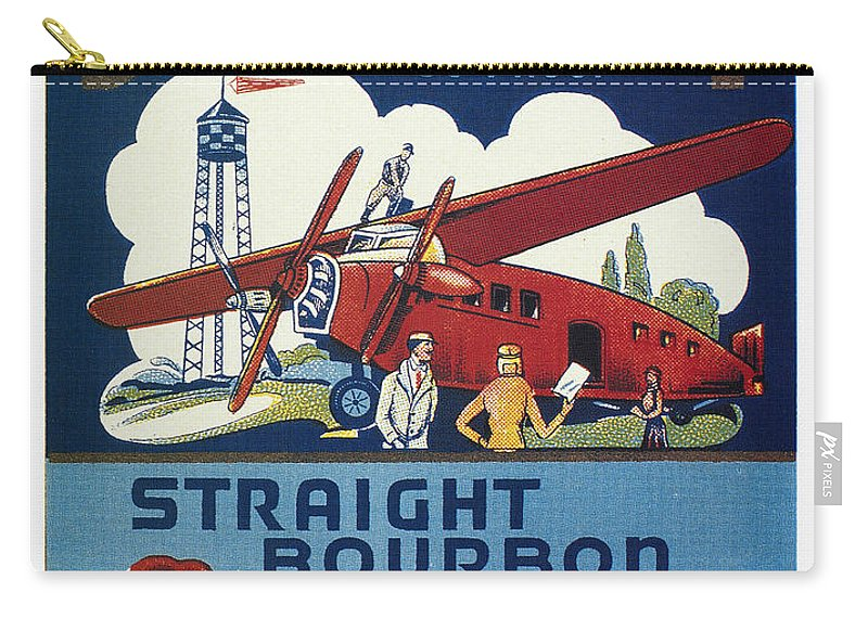 1940s Carry-all Pouch featuring the photograph Airport Whiskey Label by Granger