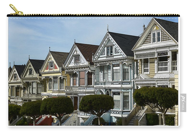 Alamo Carry-all Pouch featuring the photograph Alamo Square San Francisco California by Brandon Bourdages