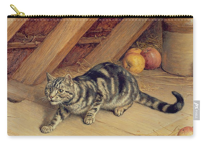 Cat; Apples; Loft Carry-all Pouch featuring the painting Alert by Frank Paton