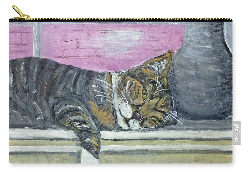 Cat Carry-all Pouch featuring the painting Alex On Windowsill by Ania M Milo