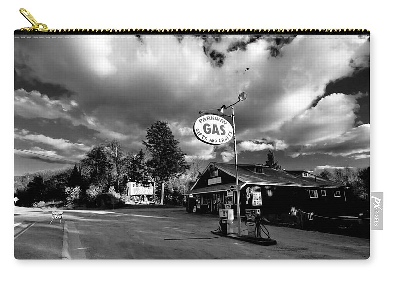 Balck And White Carry-all Pouch featuring the photograph Algonquin Gas Station by Cale Best