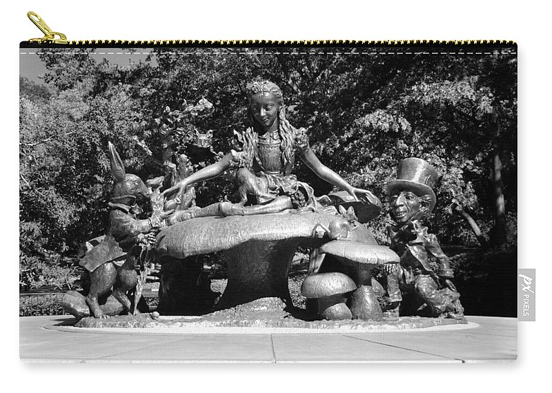 Central Park Carry-all Pouch featuring the photograph ALICE IN WONDERLAND in CENTRAL PARK in BLACK AND WHITE by Rob Hans