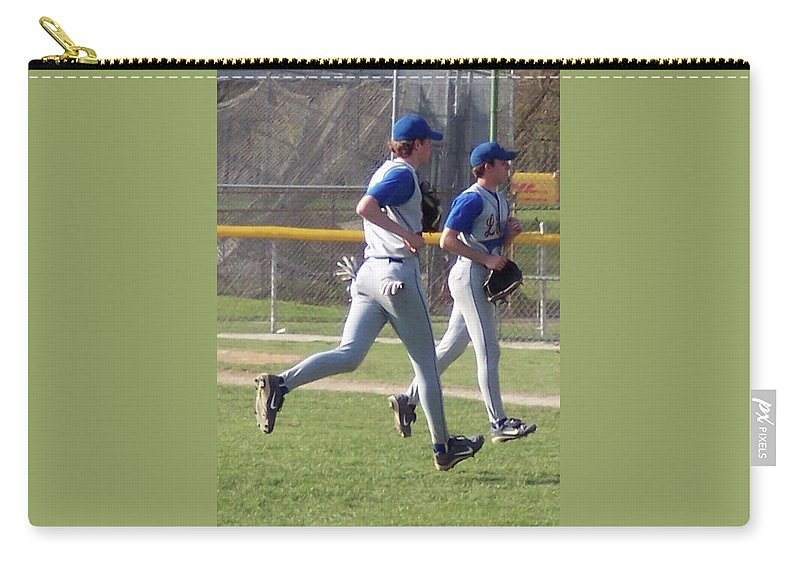 Sports Carry-all Pouch featuring the photograph All Air Baseball Players Running by Thomas Woolworth