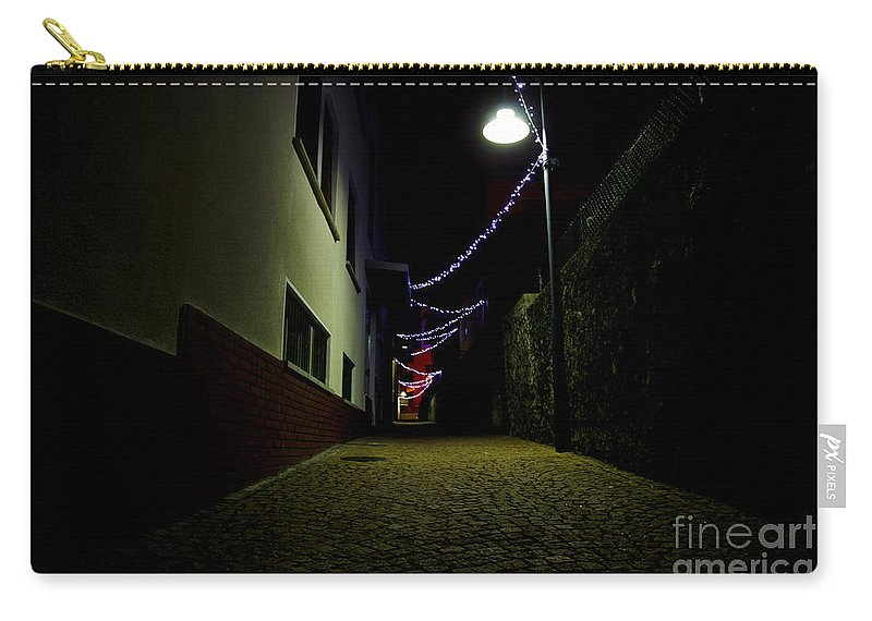Alley Carry-all Pouch featuring the photograph Alley With Lights by Mats Silvan