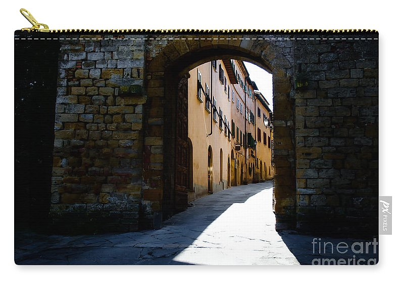 Village Carry-all Pouch featuring the photograph Alley With Sunlight by Mats Silvan