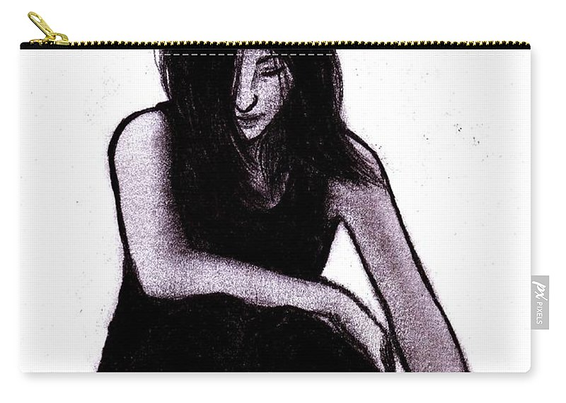Woman Carry-all Pouch featuring the digital art Alone And Alright by Toualith MEANGO