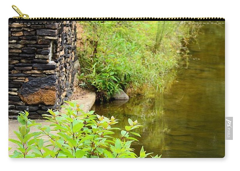 Along Carry-all Pouch featuring the photograph Along The Shallow Water by Maria Urso