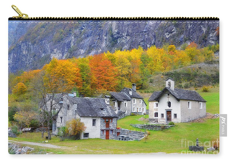 Village Carry-all Pouch featuring the photograph Alpine Village In Autumn by Mats Silvan