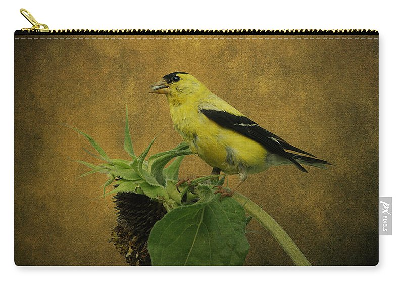 Bird Carry-all Pouch featuring the photograph American Goldfinch by Sandy Keeton