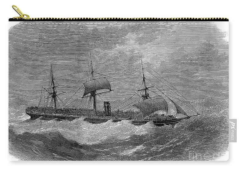 1870 Carry-all Pouch featuring the photograph American Steamship, 1870 by Granger