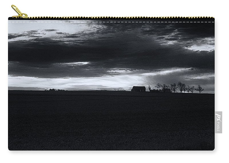 Amish Carry-all Pouch featuring the photograph Amish Sunrise Black And White by Joshua House