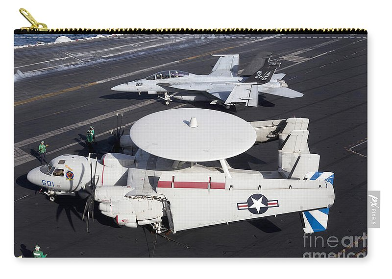 Arabian Sea Carry-all Pouch featuring the photograph An E-2c Hawkey And An Fa-18 Super by Gert Kromhout