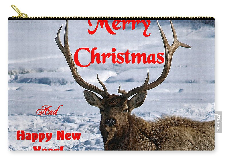 Christmas Cards Carry-all Pouch featuring the photograph An Elk Christmas by DeeLon Merritt