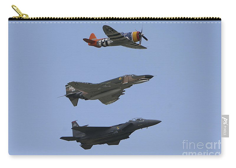 Horizontal Carry-all Pouch featuring the photograph An F-15 Eagle, P-47 Thunderbolt by Terry Moore