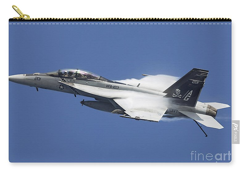 Arabian Sea Carry-all Pouch featuring the photograph An Fa-18f Super Hornet In Flight by Gert Kromhout