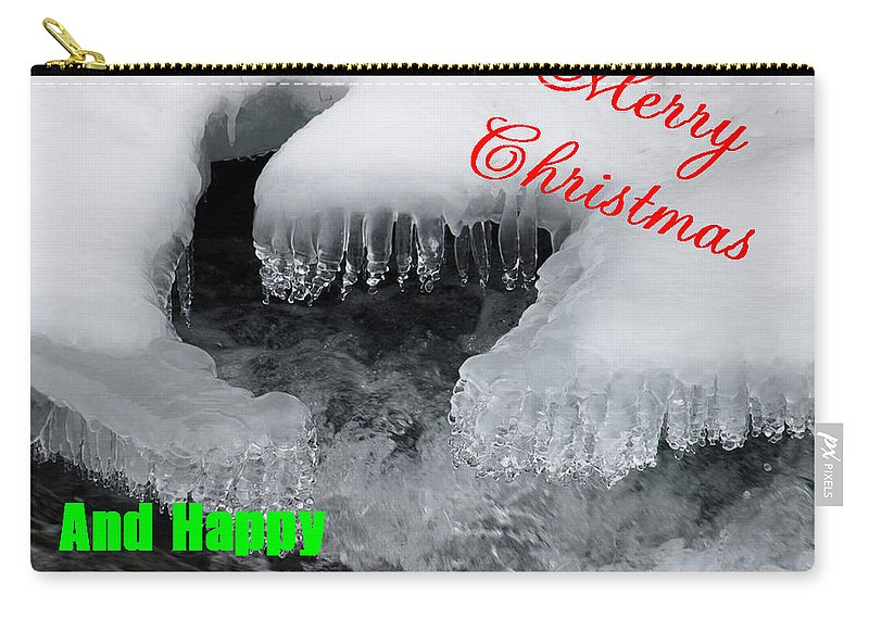 Christmas Carry-all Pouch featuring the photograph An Icy Christmas by DeeLon Merritt