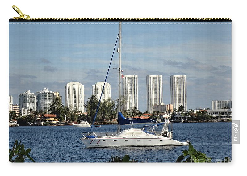 Sailboat Carry-all Pouch featuring the photograph Anchored On Maule Lake by Maria Bonnier-Perez