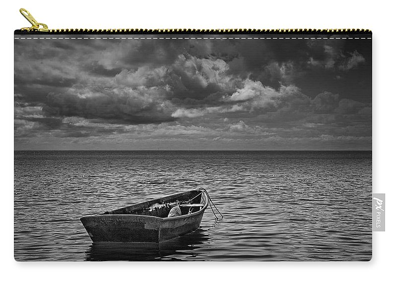 Art Carry-all Pouch featuring the photograph Anchored Row Boat Looking Out To Sea by Randall Nyhof